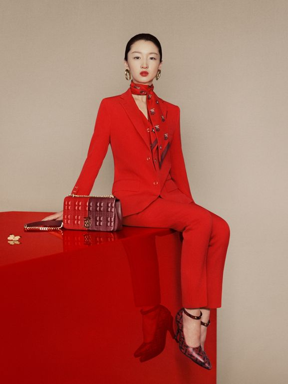 Monogram Motif Silk Scarf in Bright Red | Burberry Hong Kong S.A.R - cell image 1