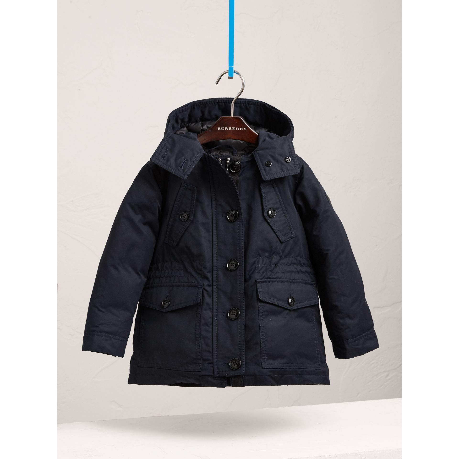 Detachable Fox Fur Trim Down-filled Hooded Puffer Coat in Navy - Girl | Burberry United States - gallery image 2