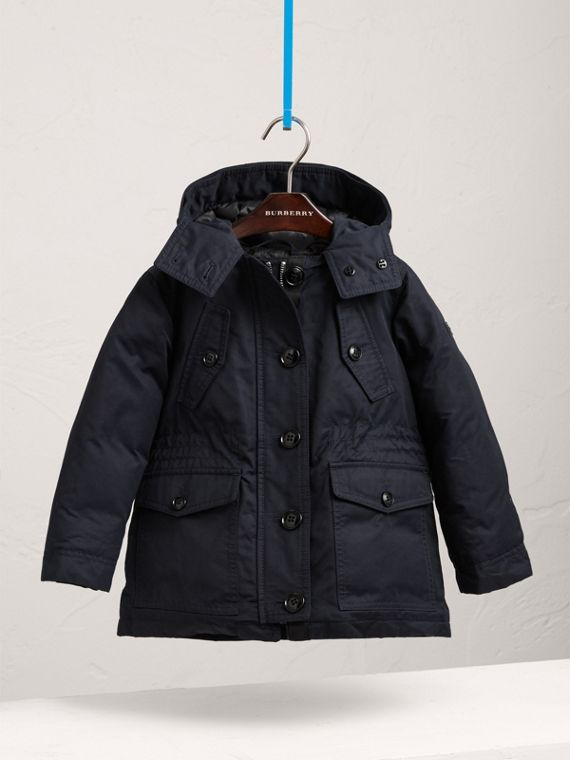 Detachable Fox Fur Trim Down-filled Hooded Puffer Coat in Navy - Girl | Burberry United States - cell image 2