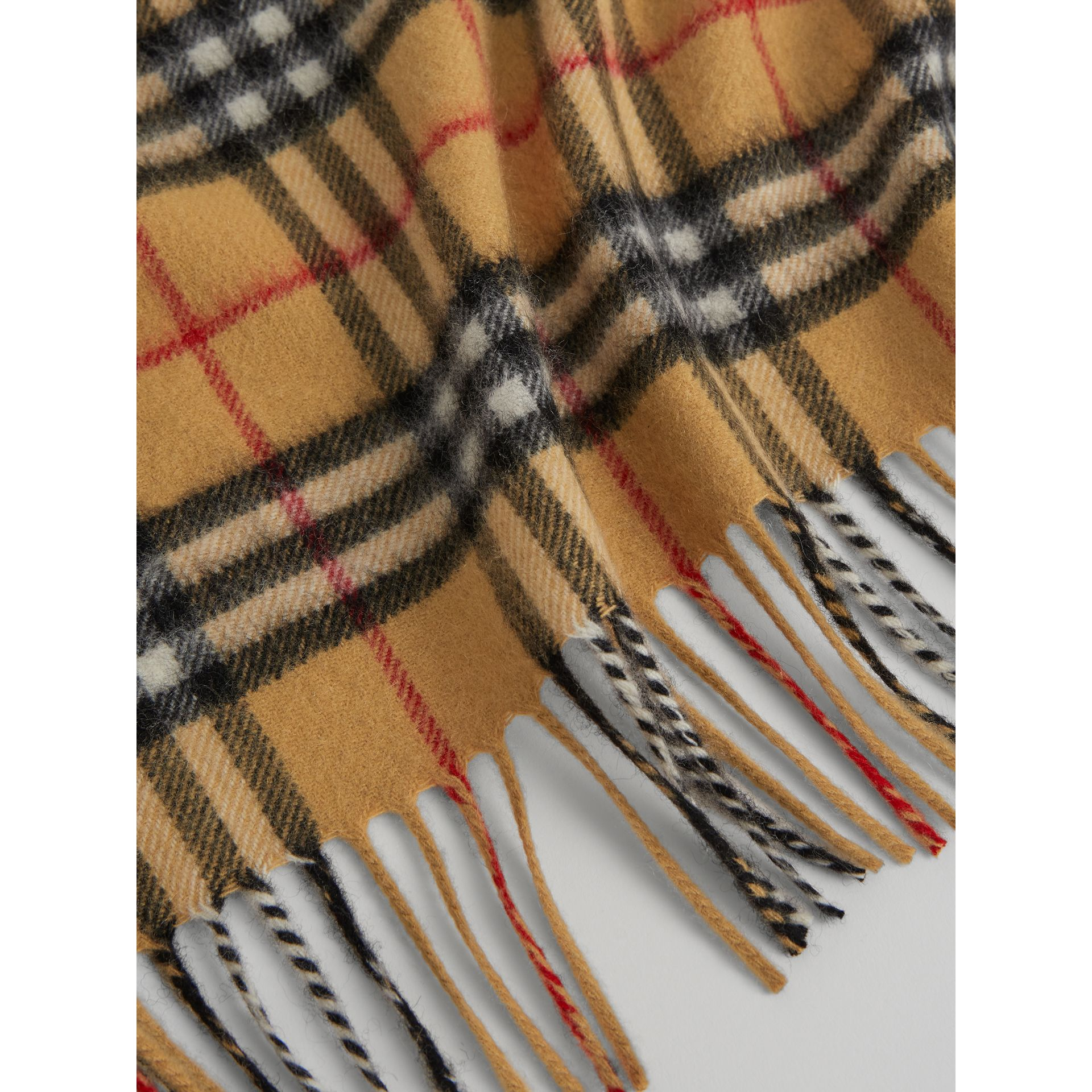 The Mini Burberry Bandana in Vintage Check Cashmere in Antique Yellow | Burberry Singapore - gallery image 1