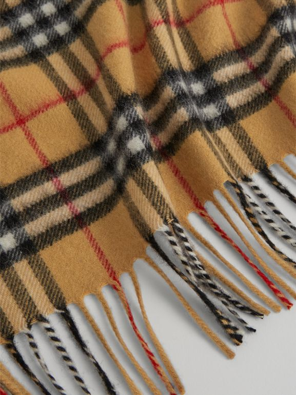 The Mini Burberry Bandana in Vintage Check Cashmere in Antique Yellow | Burberry Singapore - cell image 1
