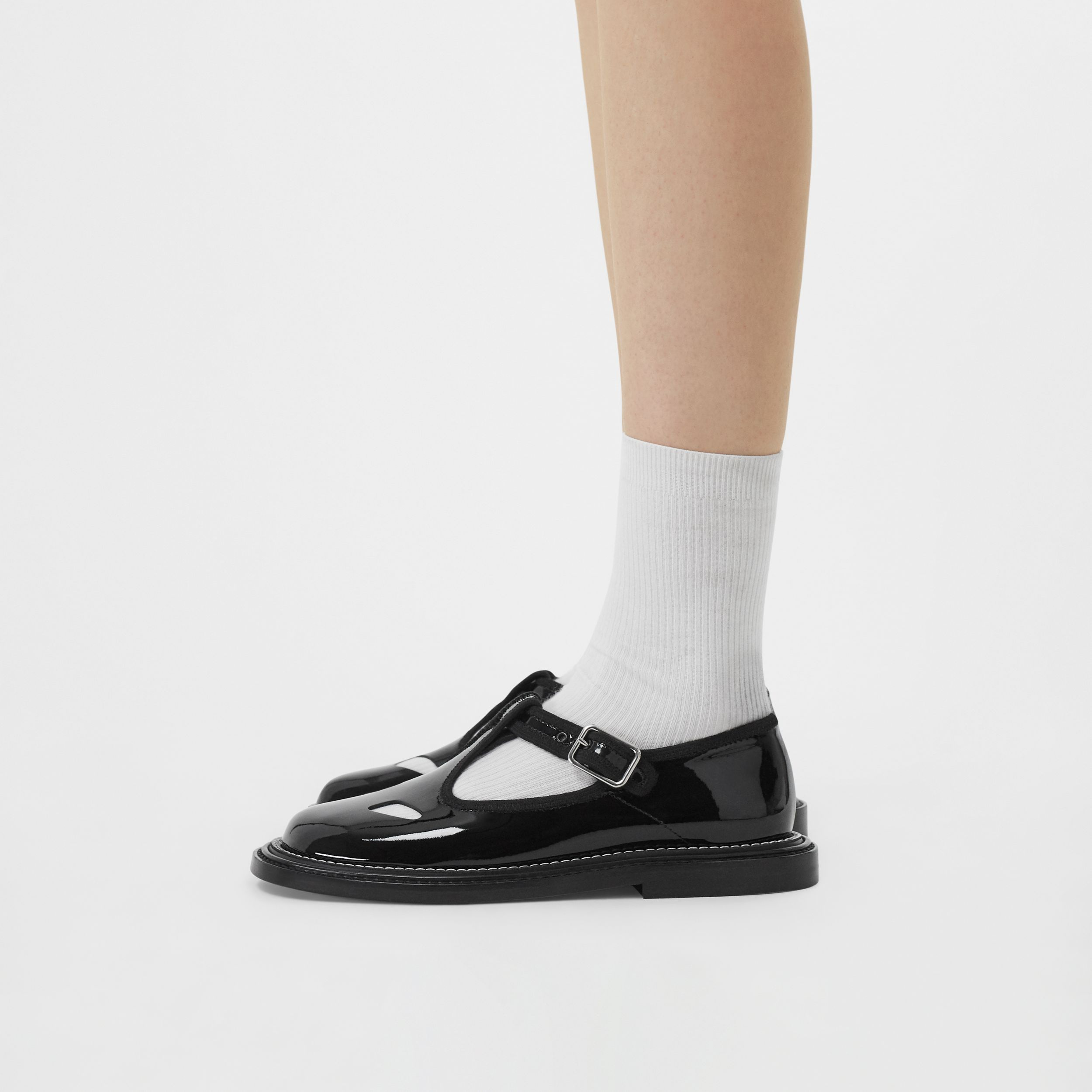 Patent Leather T-bar Shoes in Black - Women | Burberry Singapore - 3