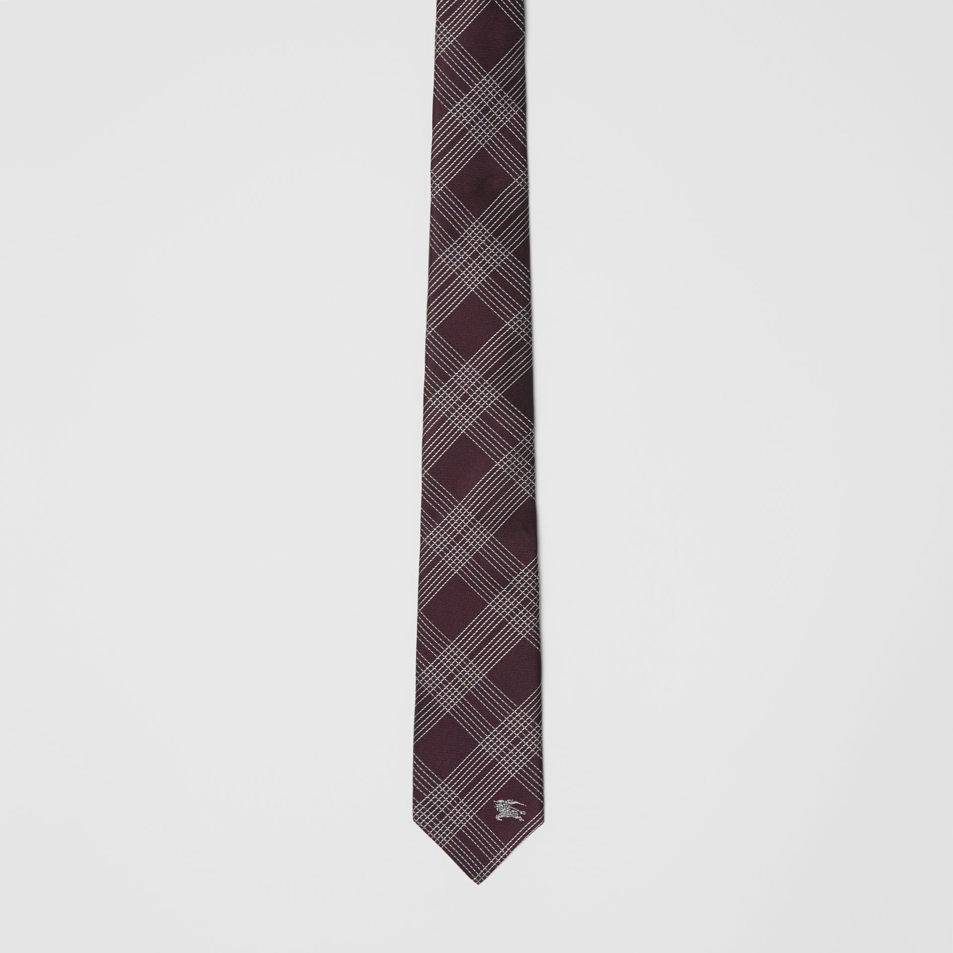 Modern Cut Check Silk Jacquard Tie in Dark Elderberry - Men | Burberry United Kingdom - gallery image 4