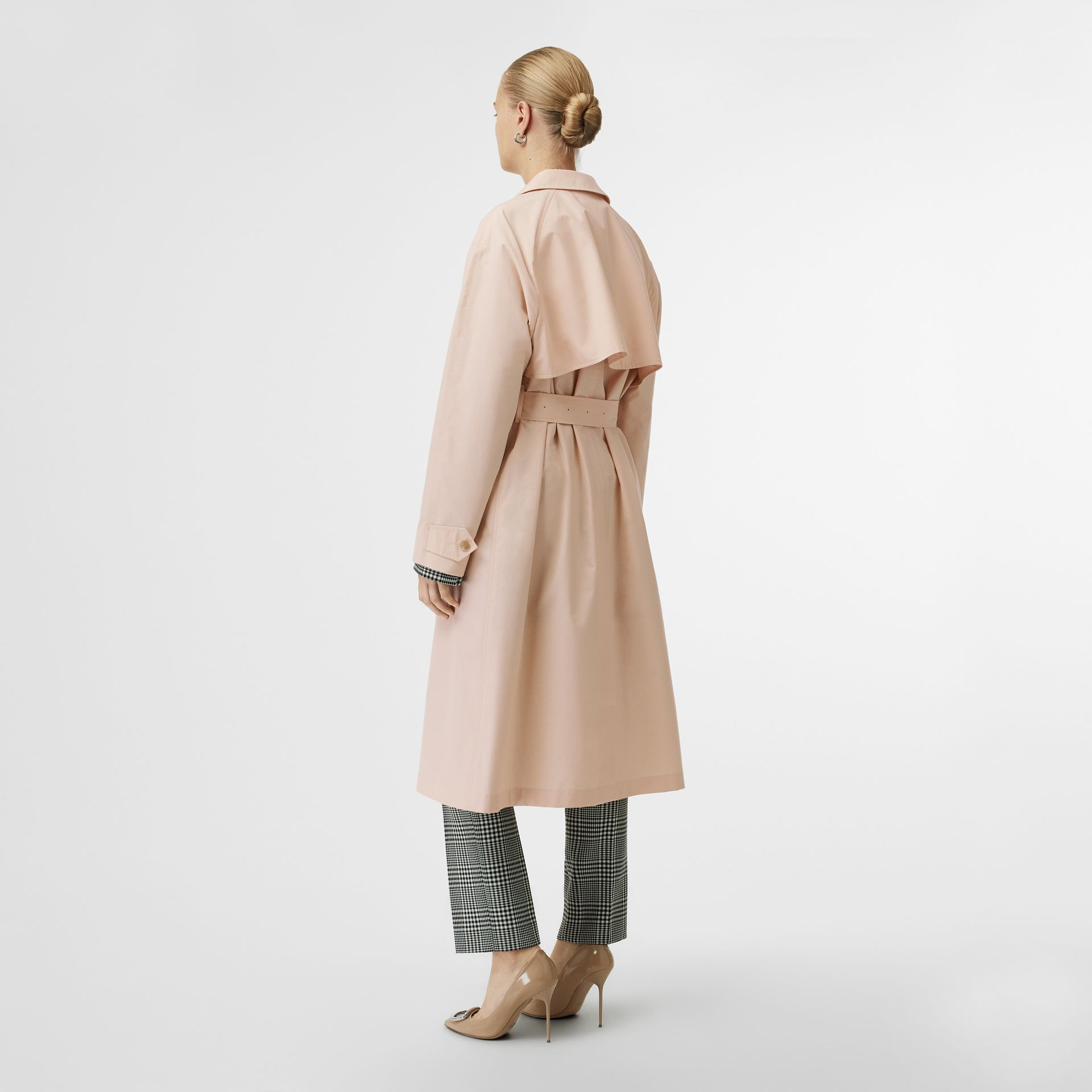 Belted Check Cotton Silk Car Coat in Chalk Pink - Women | Burberry - gallery image 2