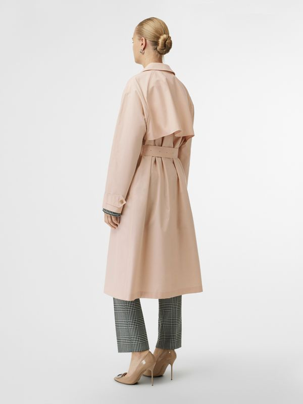 Belted Cotton Silk Car Coat in Chalk Pink - Women | Burberry - cell image 2