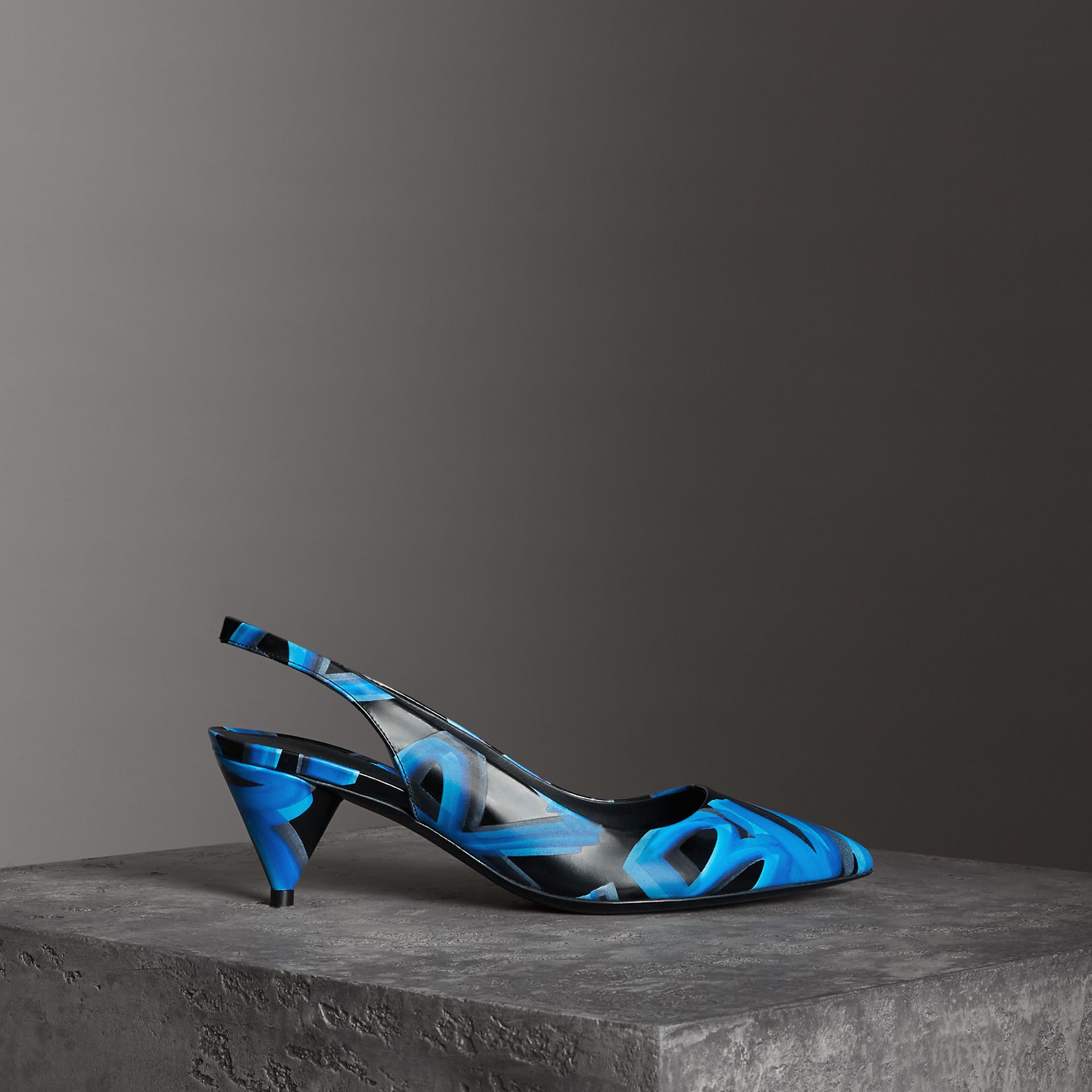 Graffiti Print Leather Slingback Pumps in Black - Women | Burberry - gallery image 0