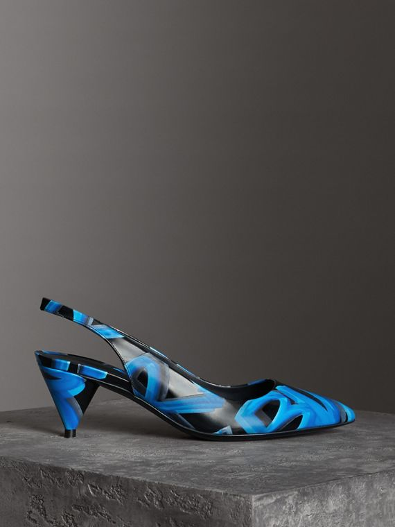 Graffiti Print Leather Slingback Pumps in Black
