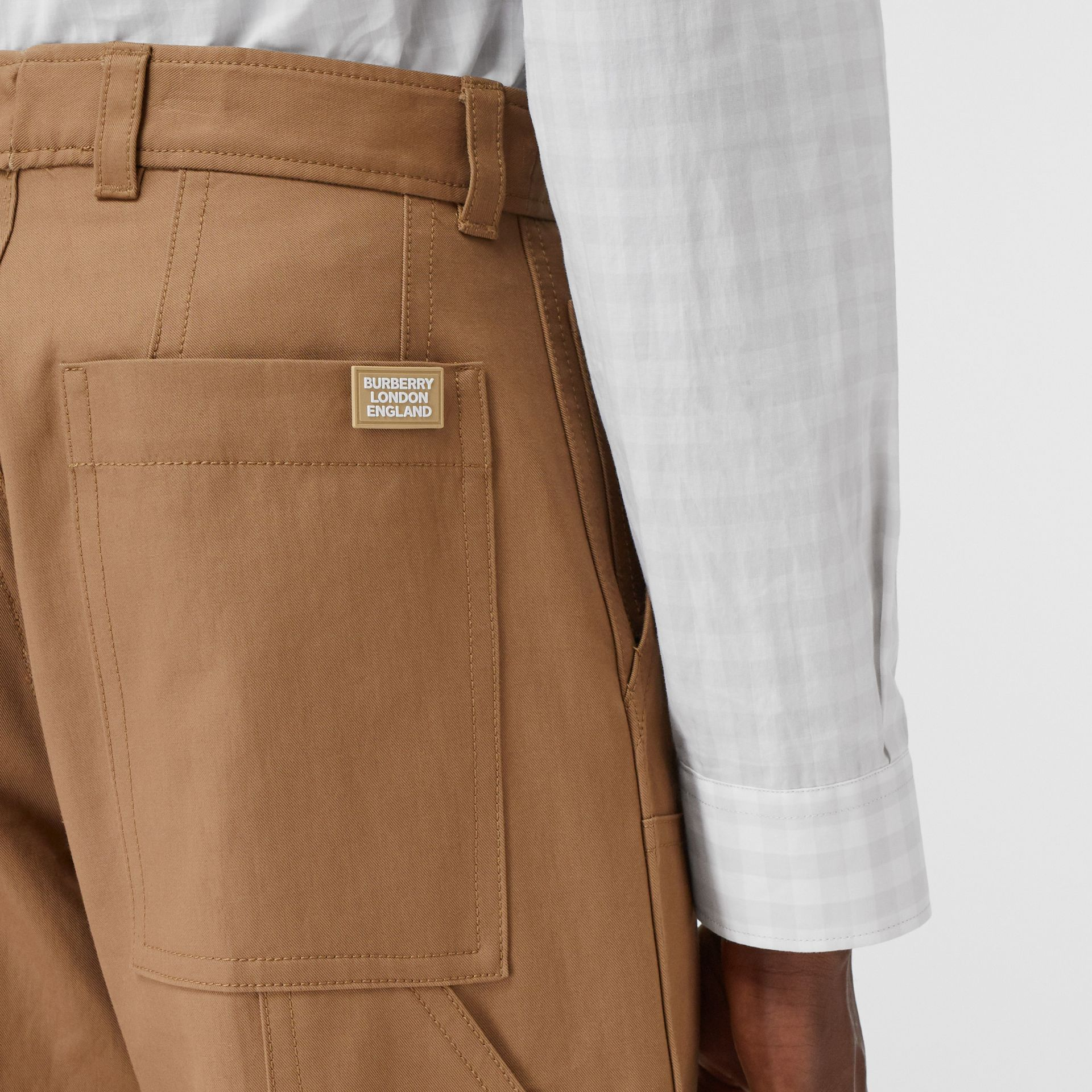 Cotton Twill Tailored Trousers in Warm Walnut | Burberry - gallery image 1
