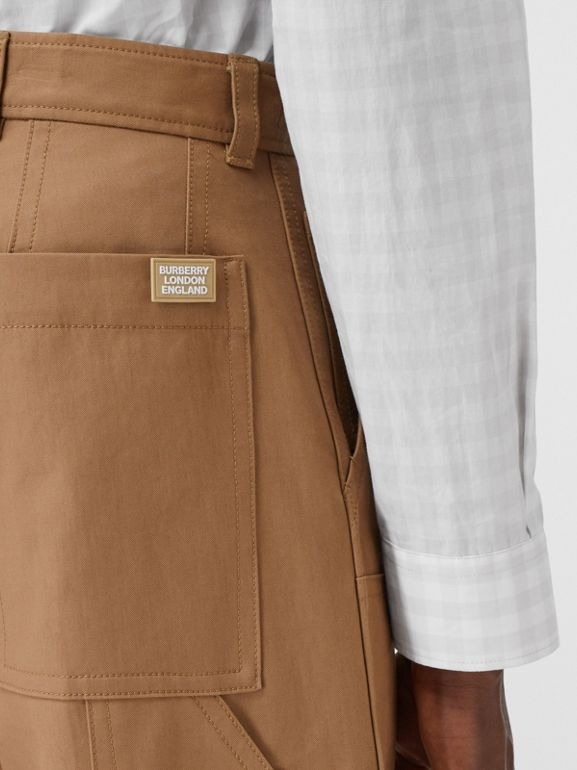 Cotton Twill Tailored Trousers in Warm Walnut | Burberry - cell image 1