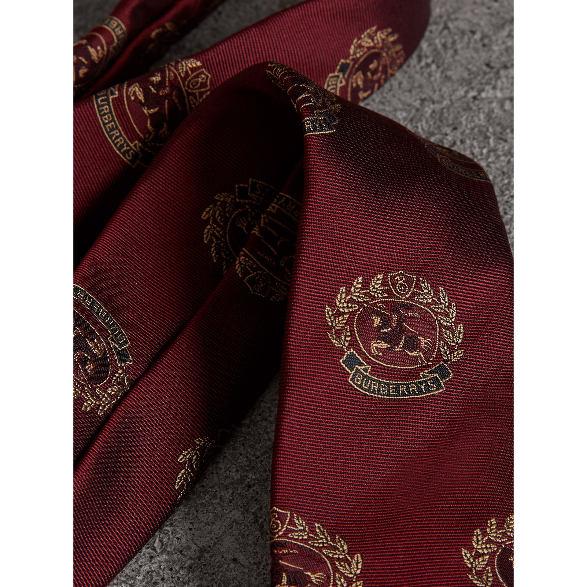 Slim Cut Archive Crest Silk Tie in Claret - Men | Burberry Singapore - gallery image 1