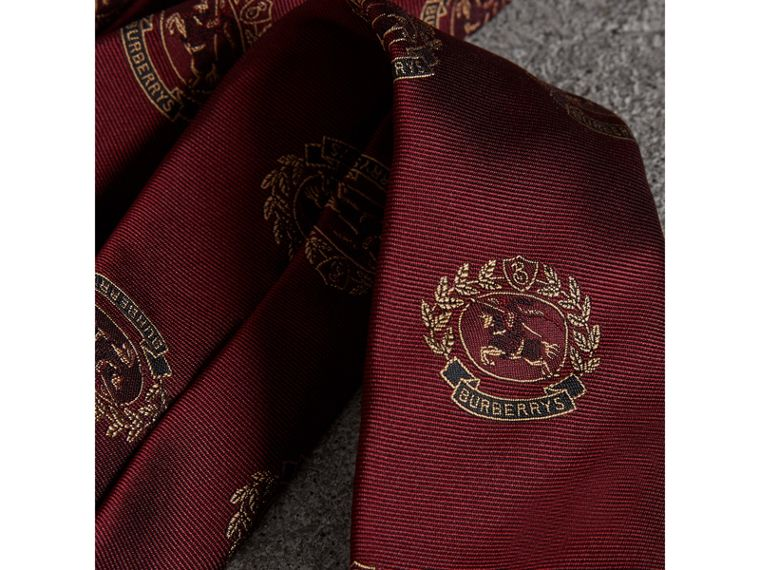 Slim Cut Archive Crest Silk Tie in Claret - Men | Burberry Canada - cell image 1