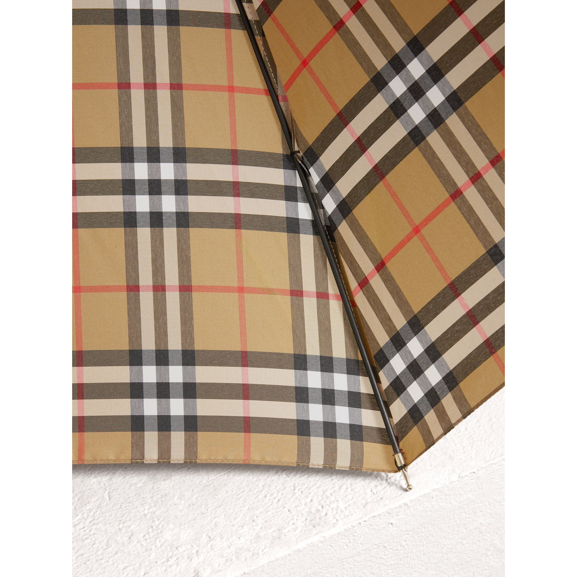 Vintage Check Walking Umbrella in Antique Yellow | Burberry Australia - gallery image 2