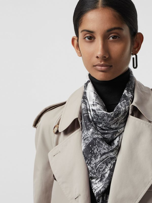 Dreamscape Print Check Lightweight Cashmere Scarf in White | Burberry - cell image 3