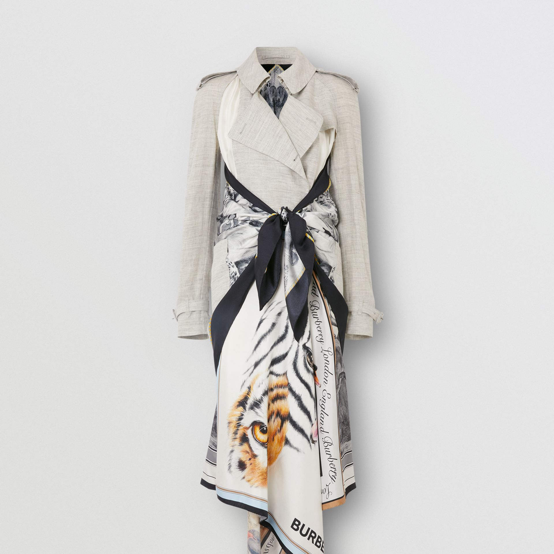 Animalia Print Linen Trench Dress in Grey Melange - Women | Burberry - gallery image 3