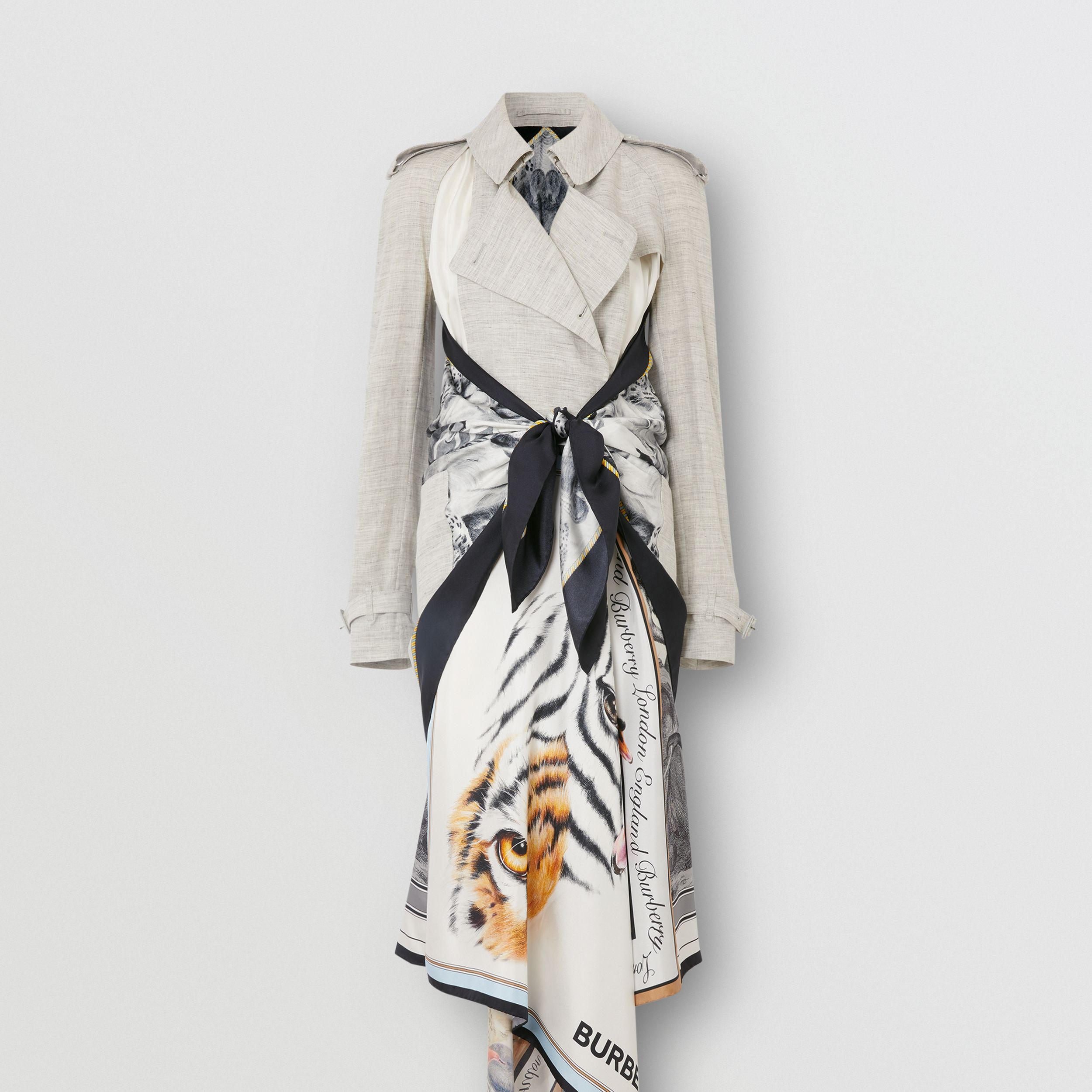 Animalia Print Linen Trench Dress in Grey Melange - Women | Burberry - 4