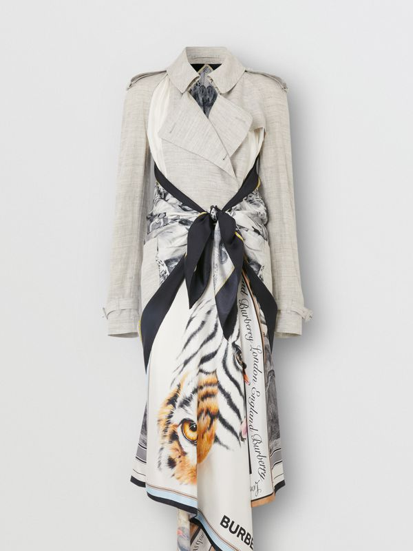 Animalia Print Linen Trench Dress in Grey Melange - Women | Burberry - cell image 3