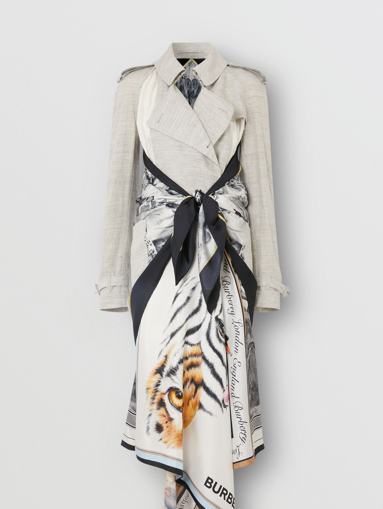 Animalia Print Linen Trench Dress in Grey Melange