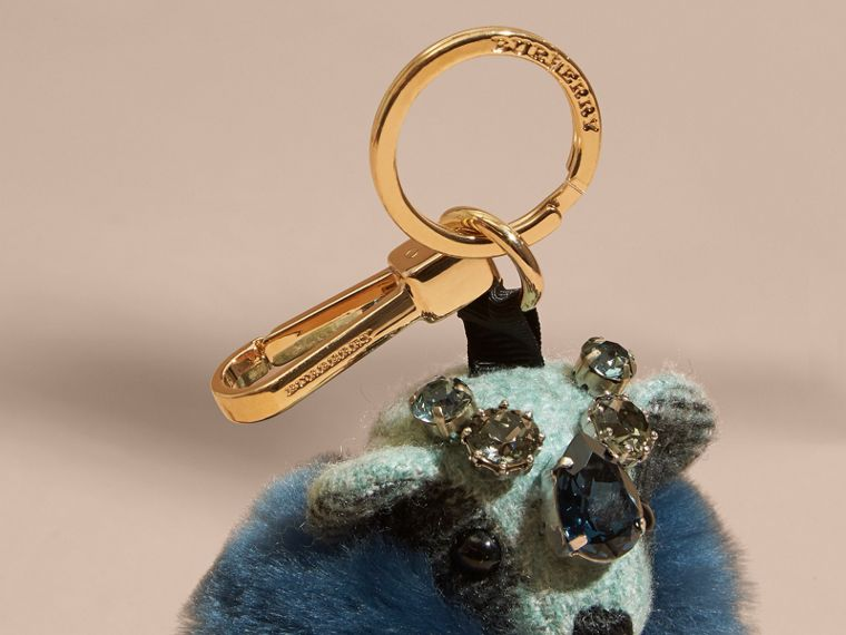 Thomas Bear Charm with Cape and Crystals in Light Mint - Women | Burberry - cell image 1