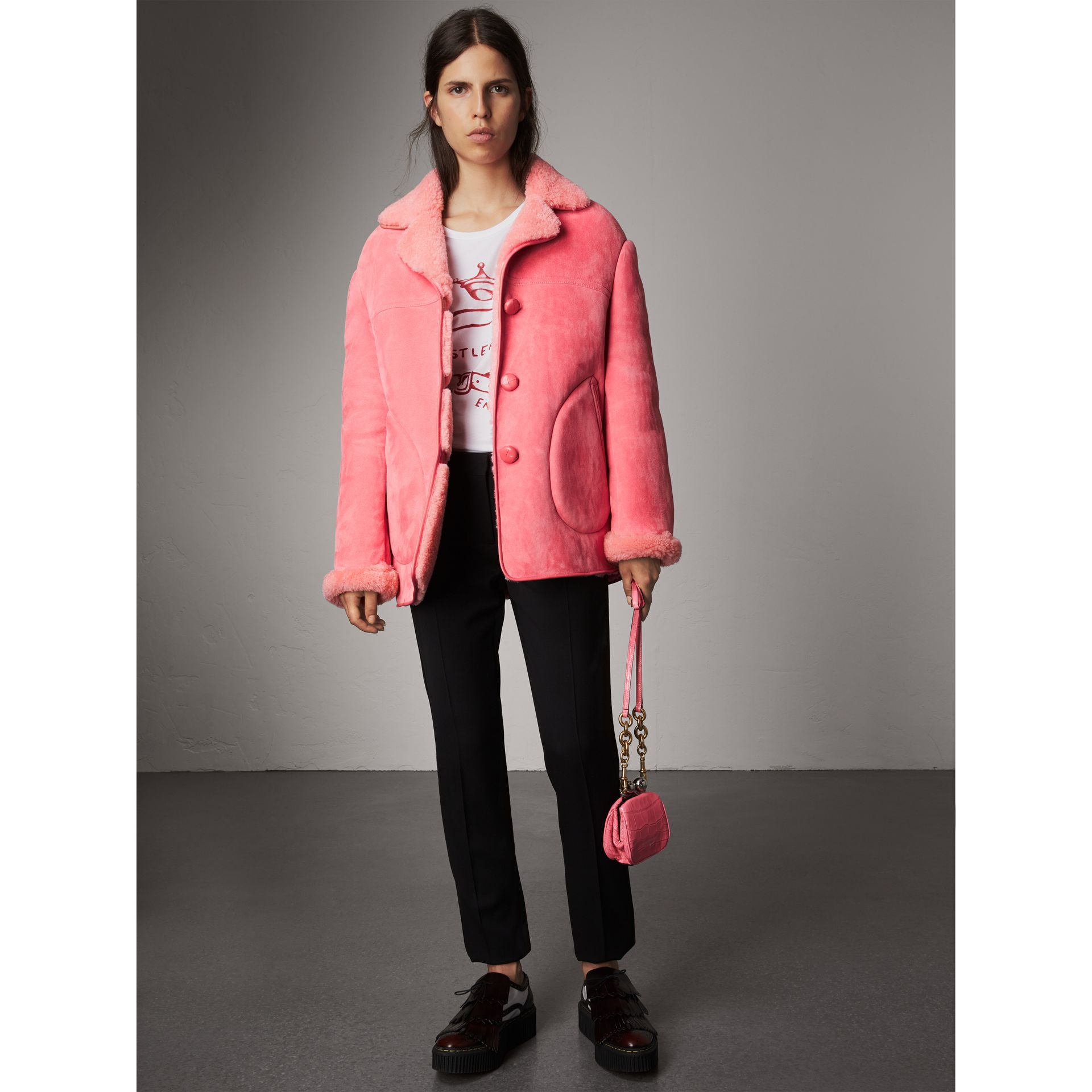 Leather Trim Shearling Oversized Jacket in Copper Pink - Women | Burberry Singapore - gallery image 0