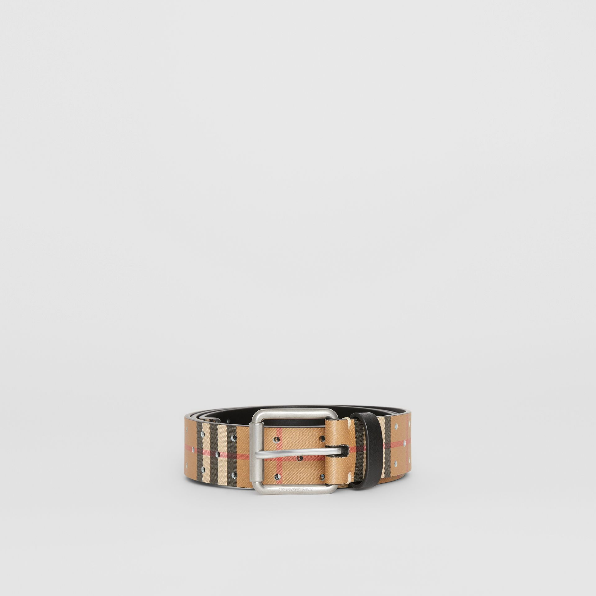 Perforated VIntage Check Leather Belt in Antique Yellow - Men | Burberry United States - gallery image 3