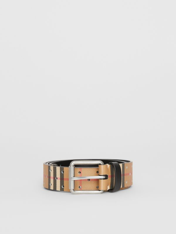 Perforated VIntage Check Leather Belt in Antique Yellow - Men | Burberry Australia - cell image 3