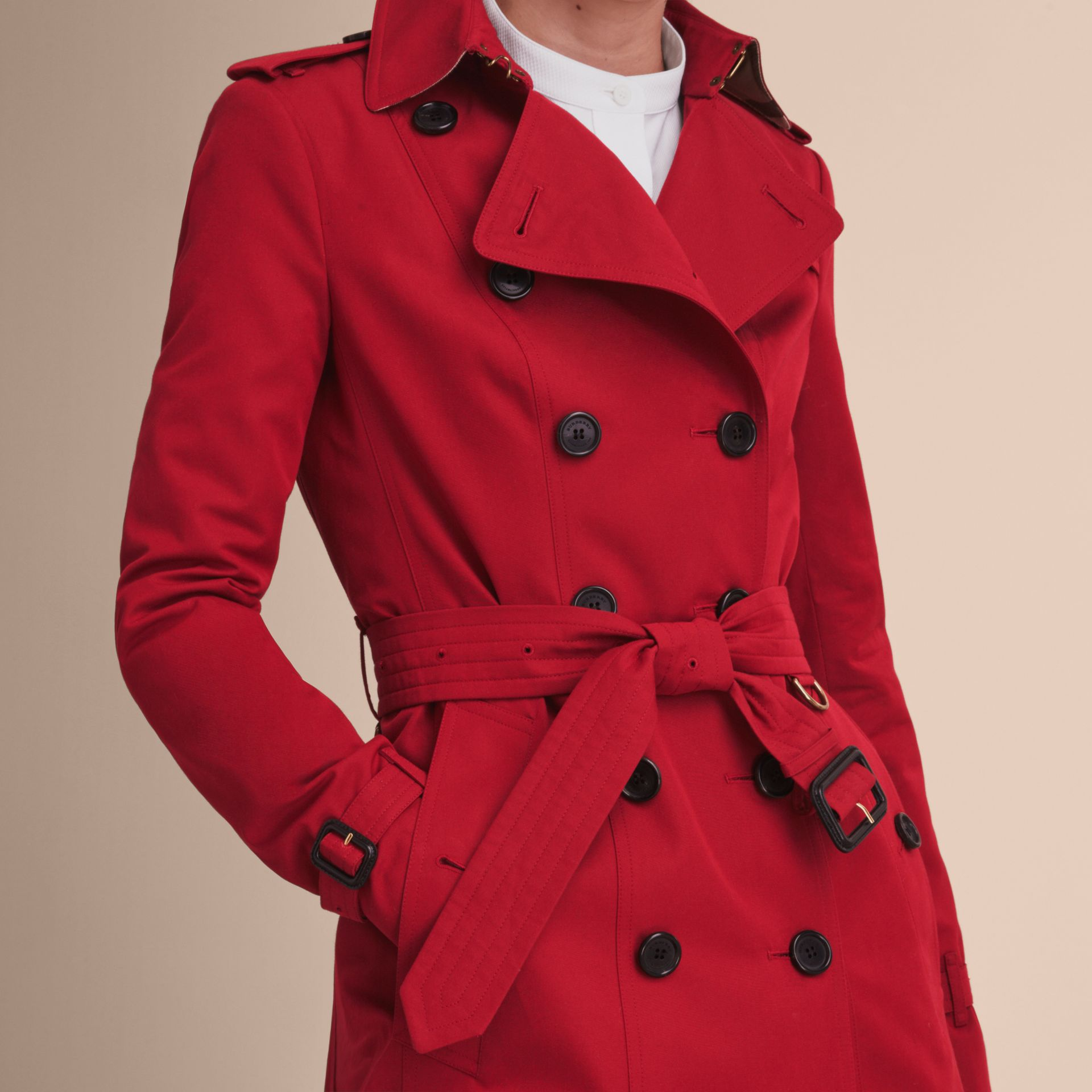 The Sandringham – Mid-length Heritage Trench Coat in Parade Red - Women | Burberry - gallery image 6