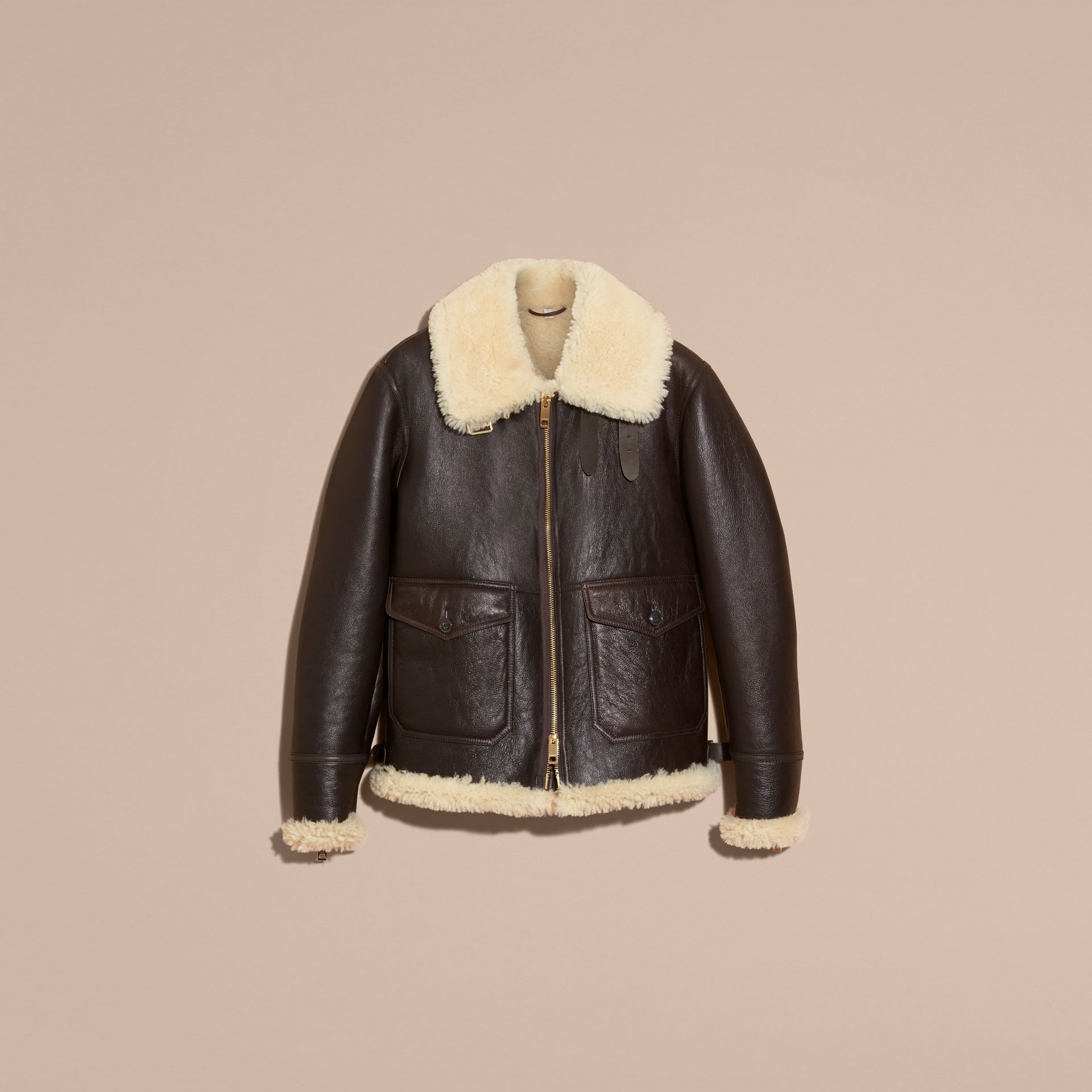 Dark cognac Shearling Aviator Jacket - gallery image 4