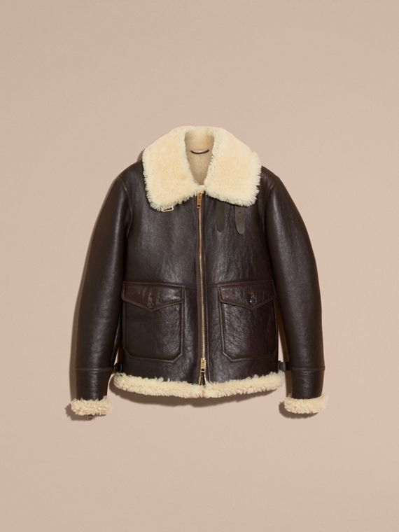 Dark cognac Shearling Aviator Jacket - cell image 3