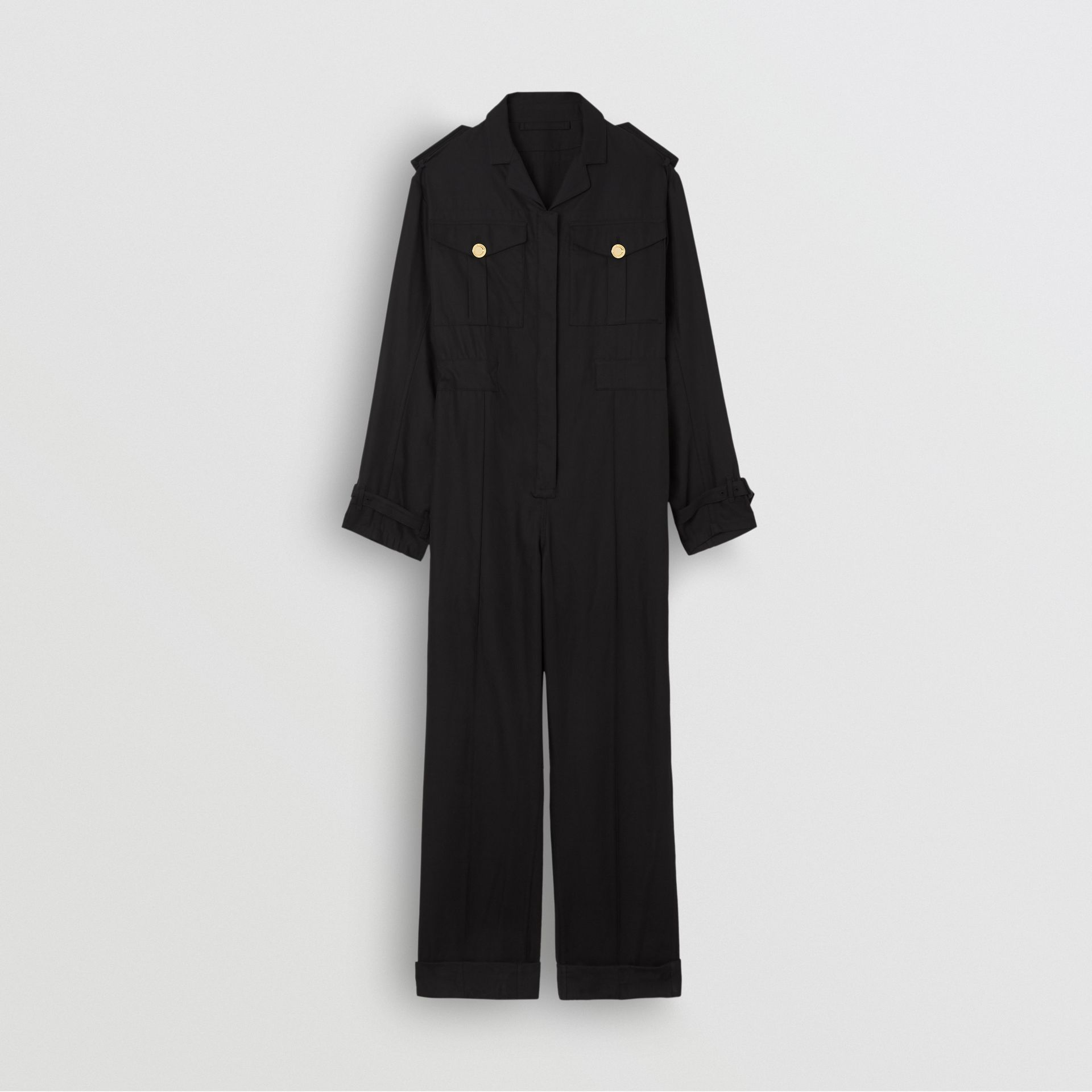 Cotton Gabardine Jumpsuit in Black - Women | Burberry United Kingdom - gallery image 3