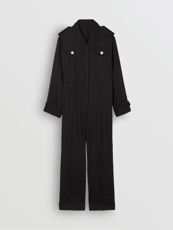 Cotton Gabardine Jumpsuit in Black - Women | Burberry United Kingdom - cell image 3