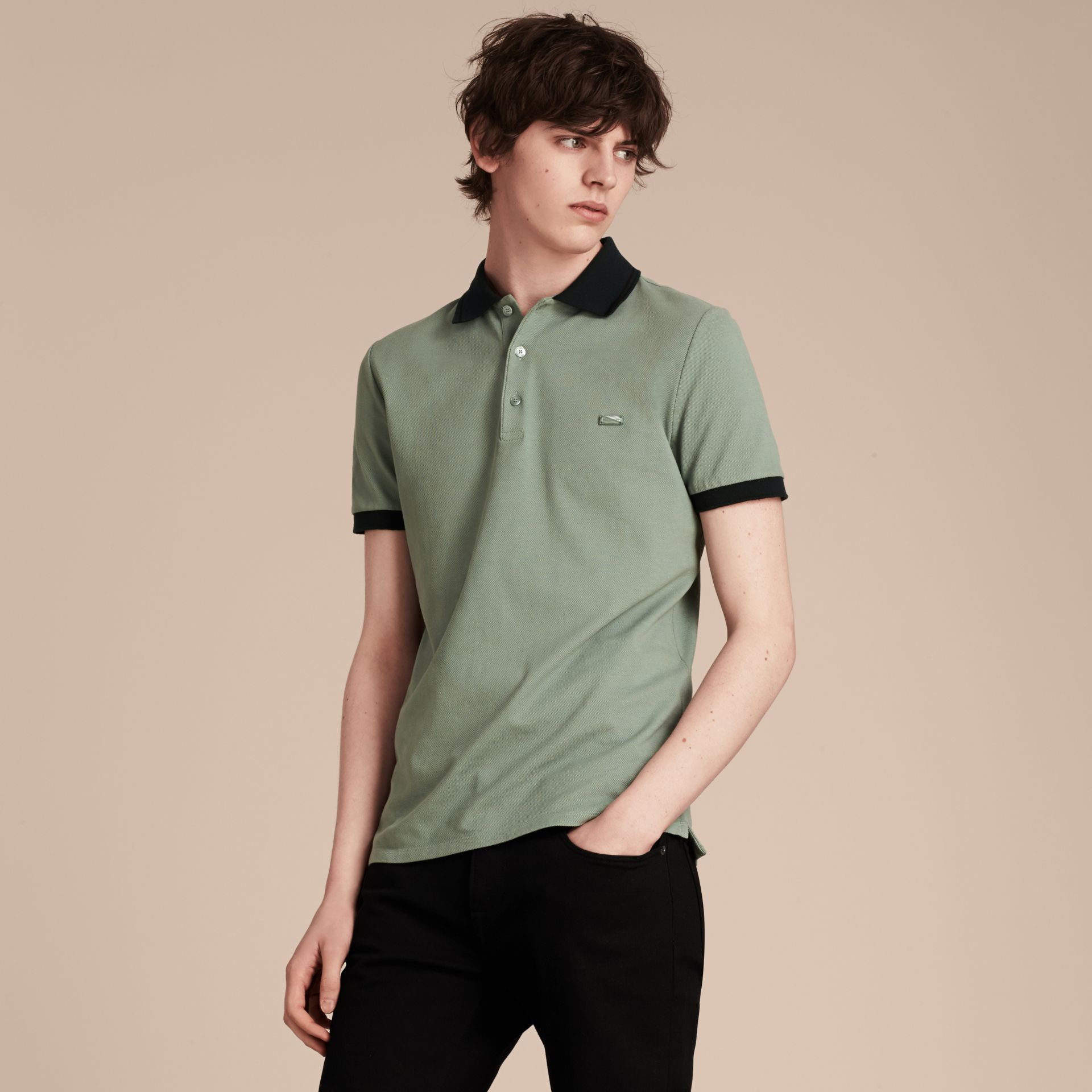 Chalk green/black Contrast Trim Cotton Piqué Polo Shirt Chalk Green/black - gallery image 6
