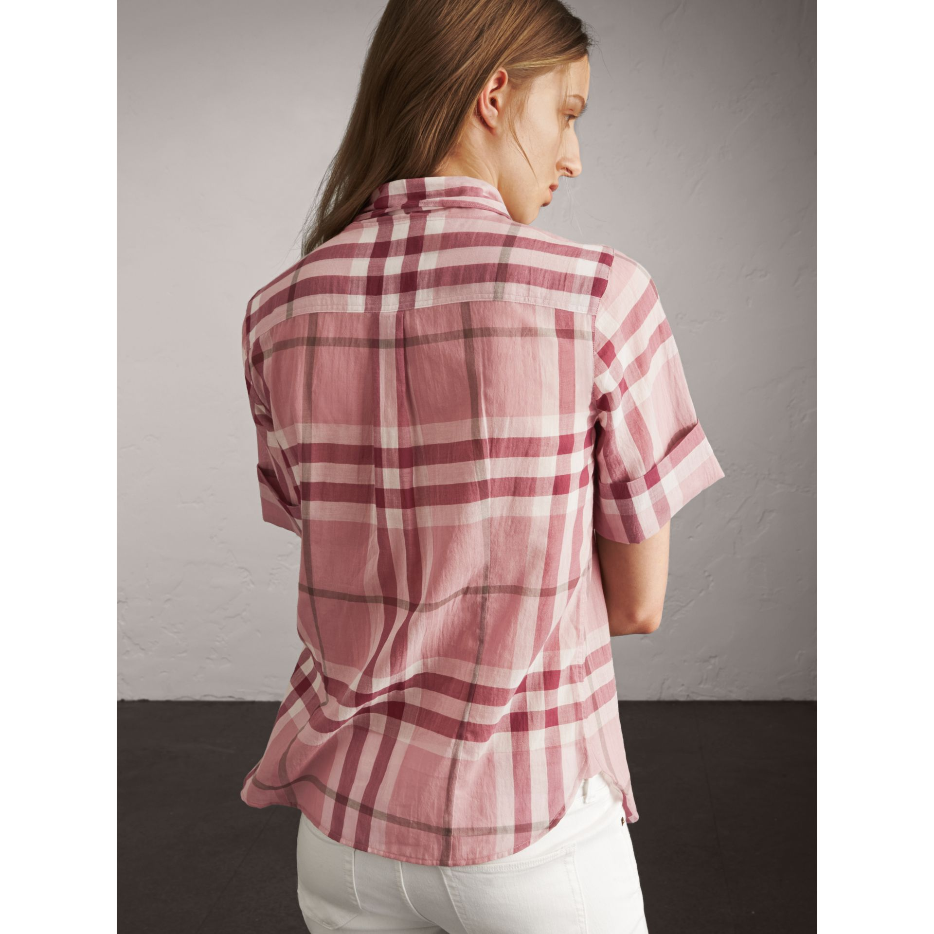 Short-sleeve Check Cotton Tie Neck Shirt in Antique Pink - Women | Burberry - gallery image 3