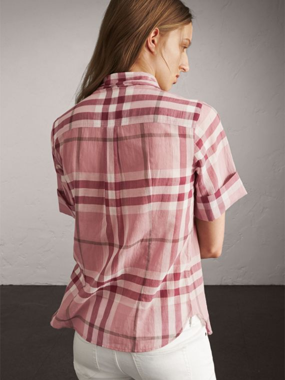 Short-sleeve Check Cotton Tie Neck Shirt in Antique Pink - Women | Burberry - cell image 2