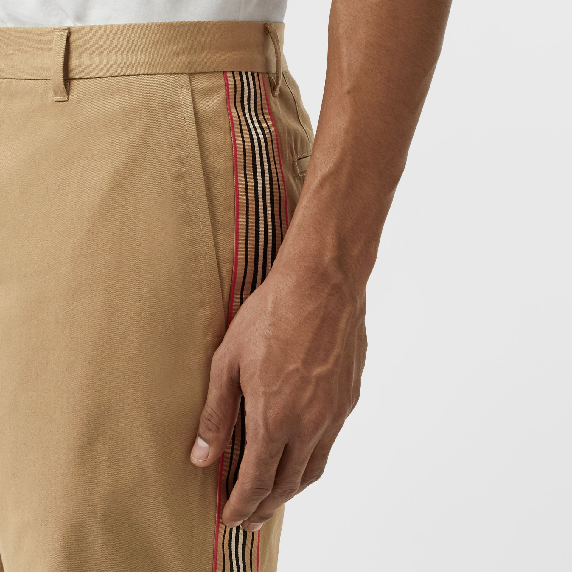 Icon Stripe Detail Cotton Twill Chino Shorts in Honey - Men | Burberry United Kingdom - gallery image 1