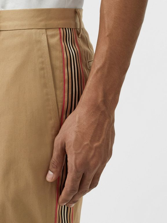 Icon Stripe Detail Cotton Twill Chino Shorts in Honey - Men | Burberry United Kingdom - cell image 1