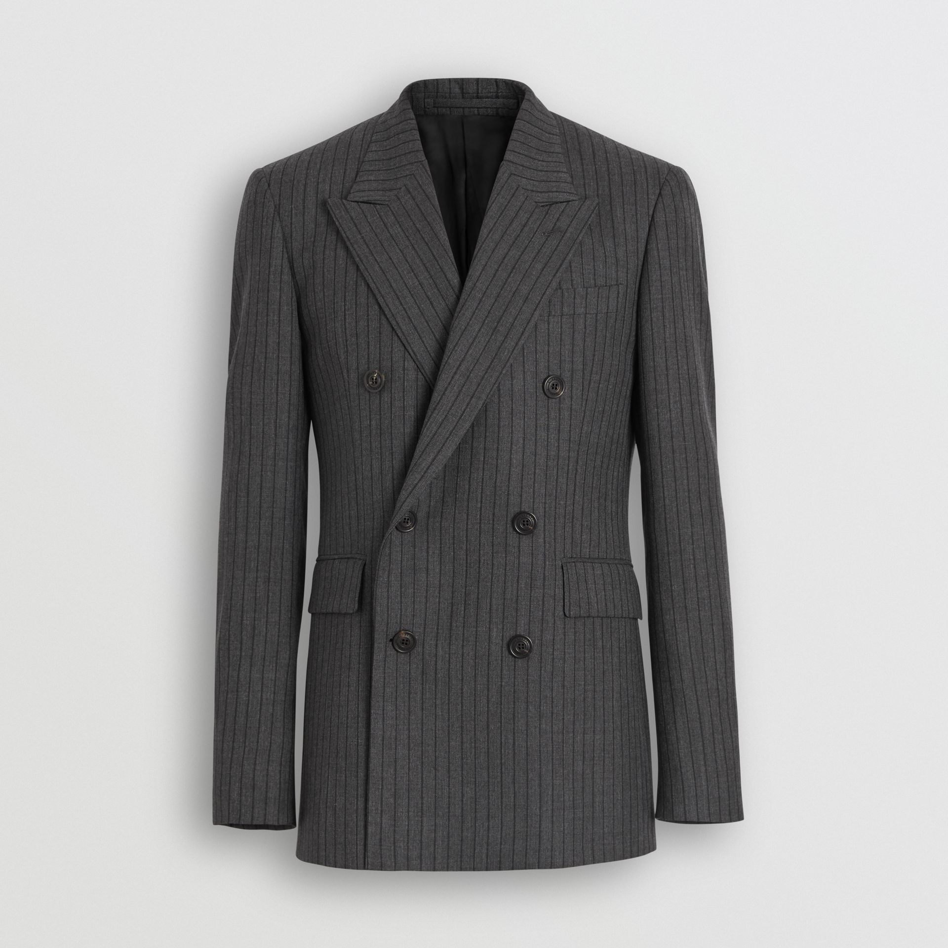 Classic Fit Pinstriped Wool Tailored Jacket in Mid Grey Melange - Men | Burberry - gallery image 3