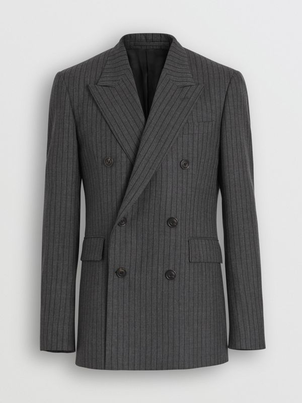 Classic Fit Pinstriped Wool Tailored Jacket in Mid Grey Melange - Men | Burberry - cell image 3