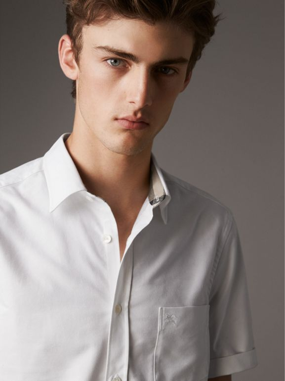 Check Detail Short-Sleeved Cotton Oxford Shirt in White - Men | Burberry - cell image 1