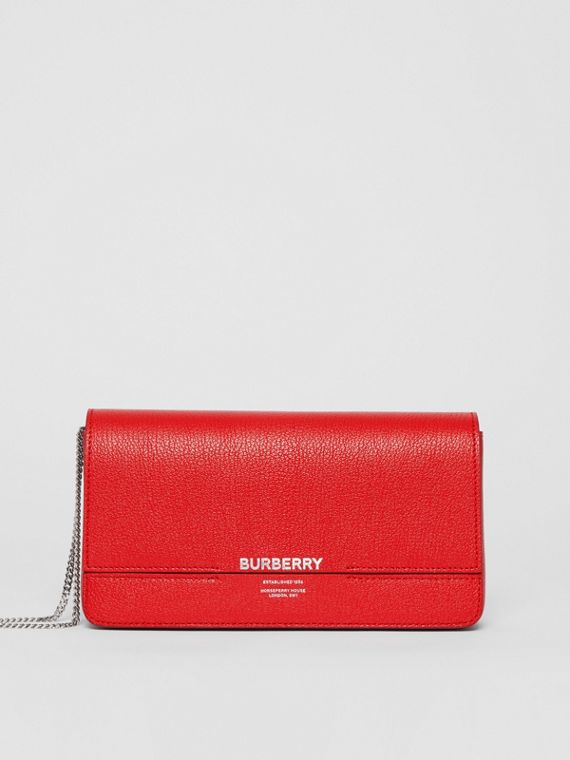 Leather Grace Clutch in Bright Military Red
