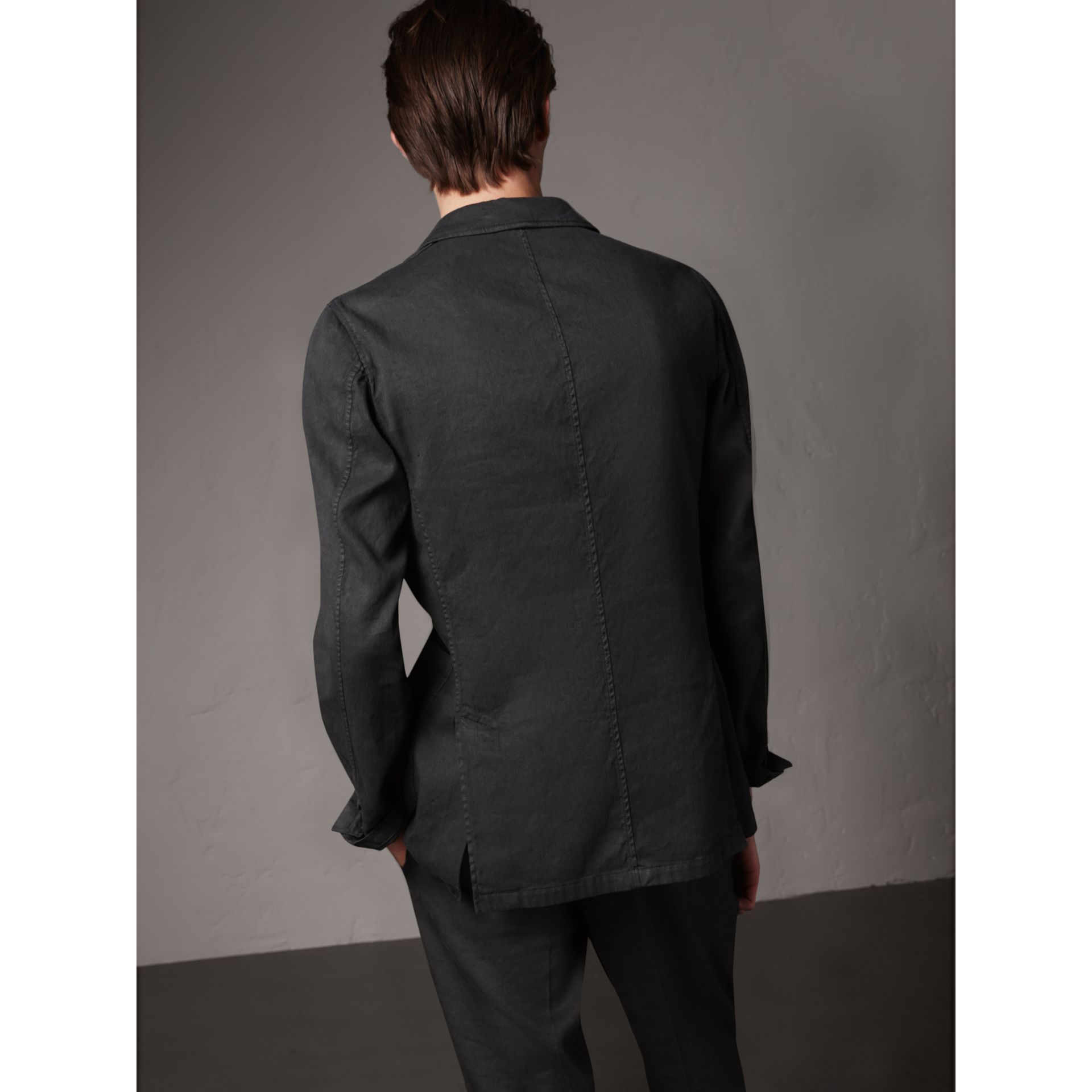 Slim Fit Linen Cotton Tailored Jacket in Dark Charcoal - Men | Burberry - gallery image 3