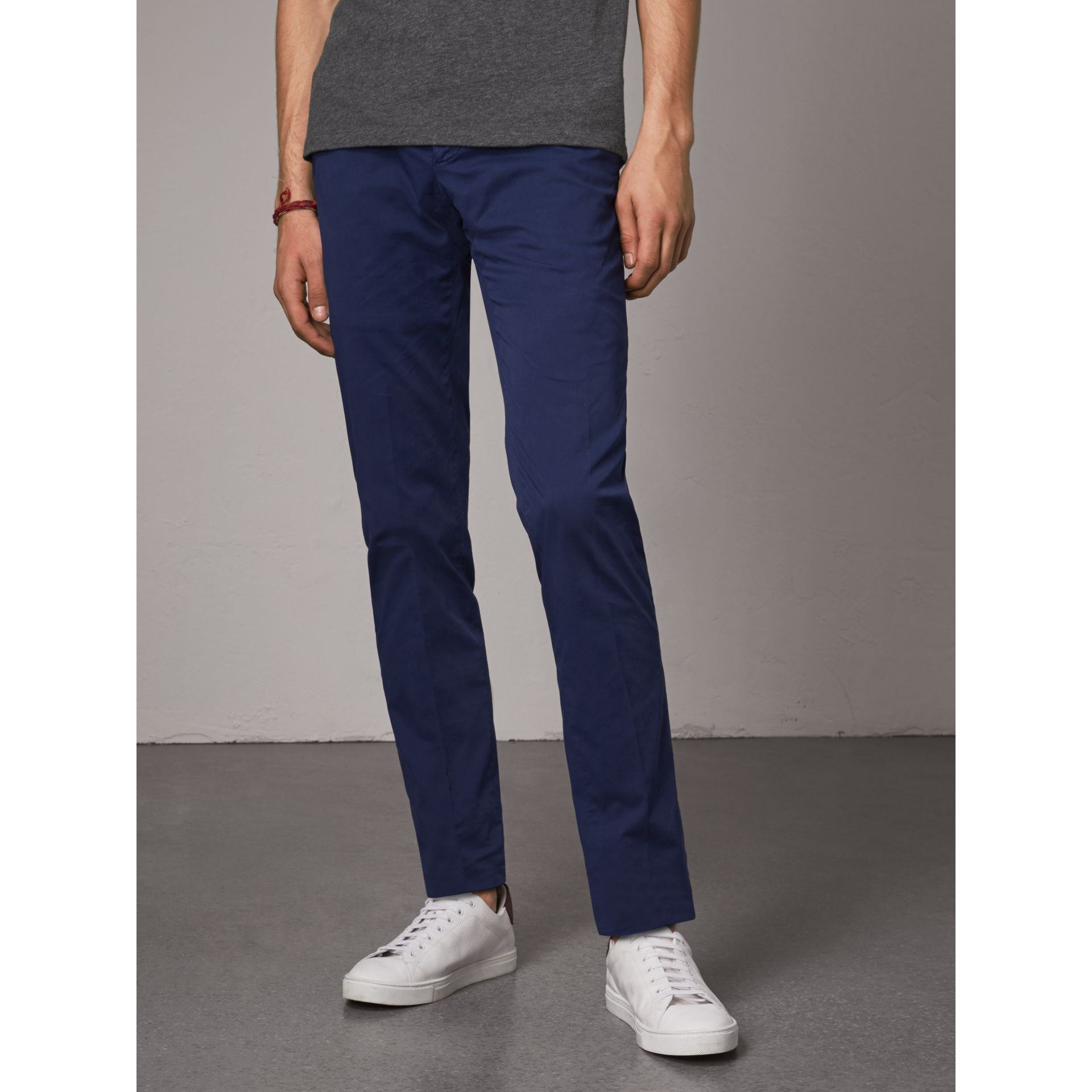 Slim Fit Stretch Cotton Chinos in Bright Navy - Men | Burberry Australia - gallery image 5