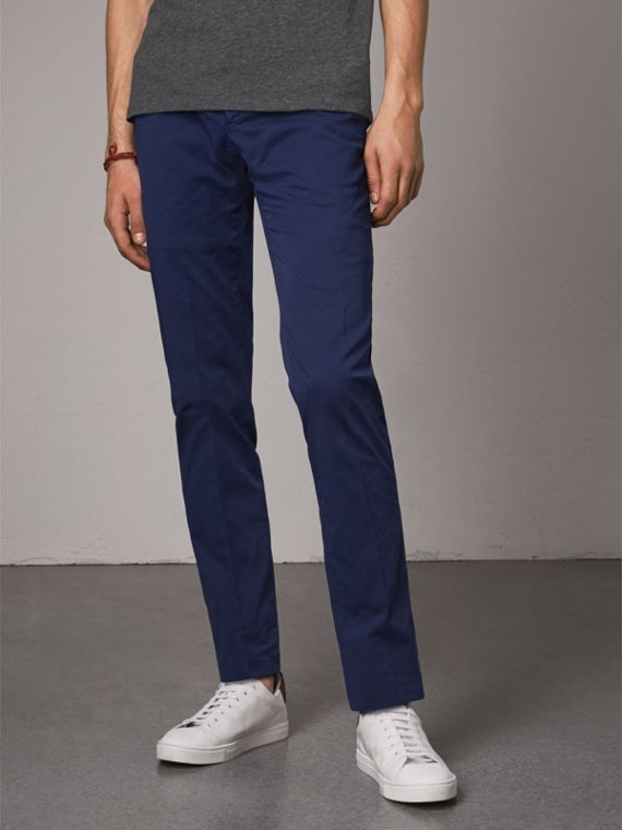 Slim Fit Stretch Cotton Chinos in Bright Navy - Men | Burberry Canada