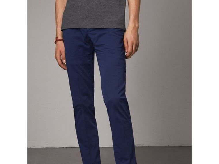 Slim Fit Stretch Cotton Chinos in Bright Navy - Men | Burberry Australia - cell image 4