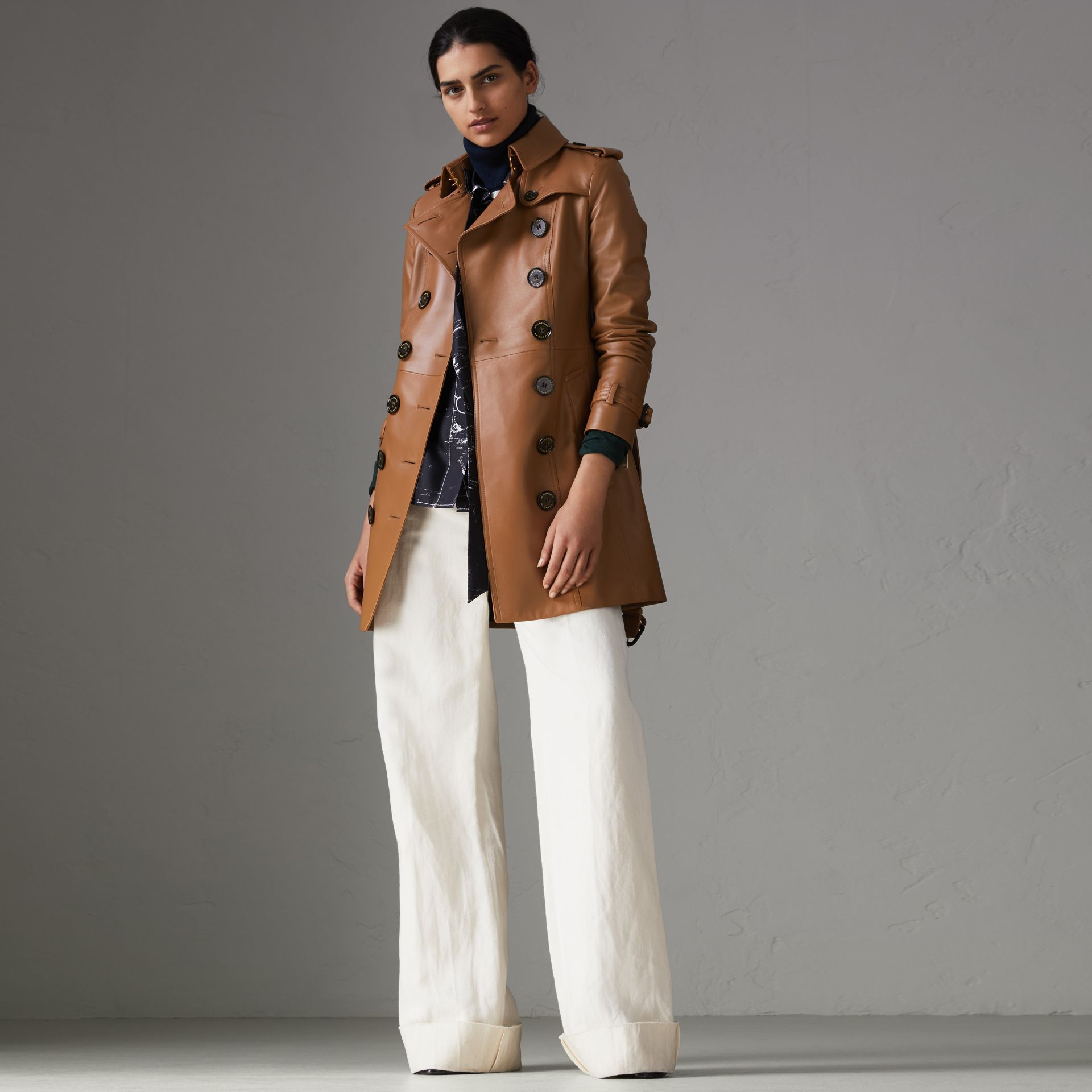 Sandringham Fit Lambskin Trench Coat in Caramel - Women | Burberry - gallery image 0