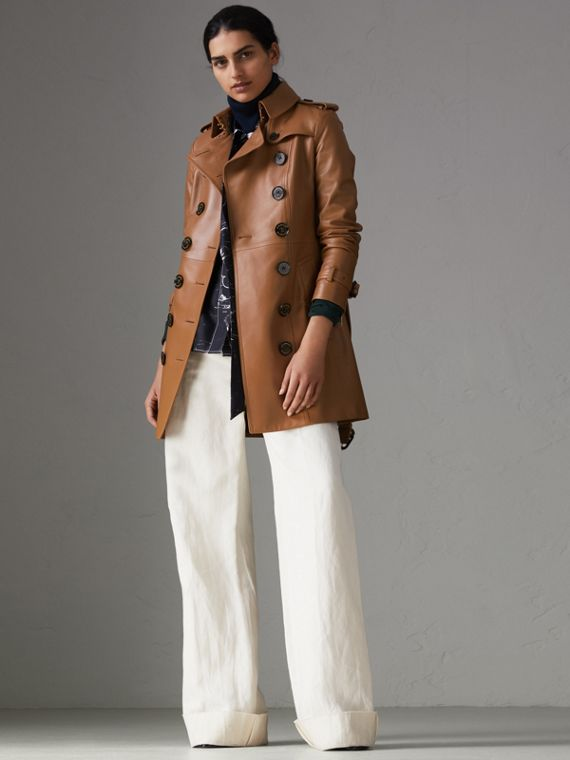 Sandringham Fit Lambskin Trench Coat in Caramel