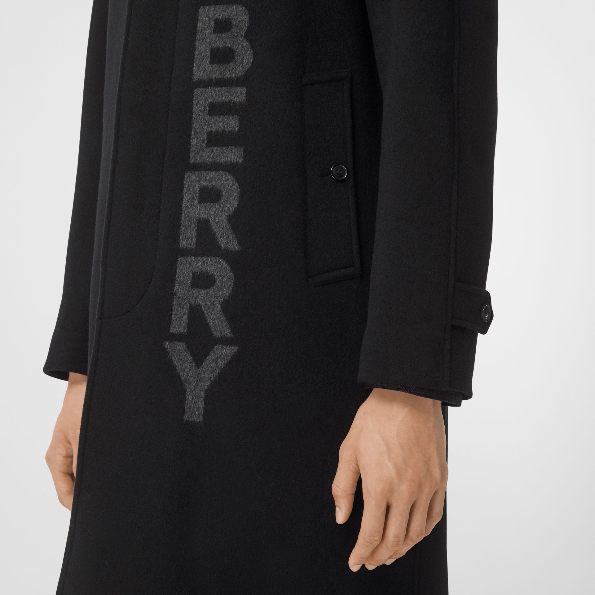Logo Wool Cashmere Jacquard Car Coat in Black - Men | Burberry - gallery image 4