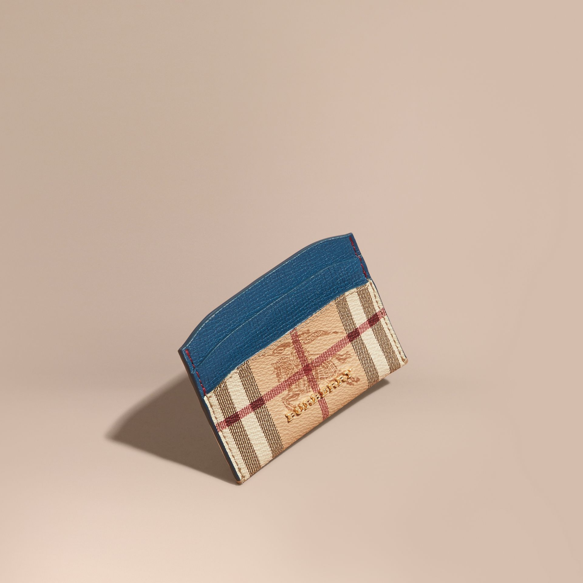 Haymarket Check and Leather Card Case Mineral Blue - gallery image 1