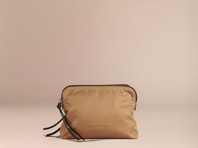 Large Zip-top Technical Nylon Pouch Light Flax - cell image 1