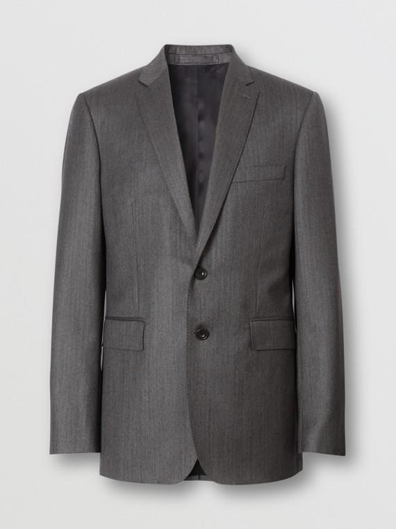Slim Fit Herringbone Wool Suit in Mid Grey