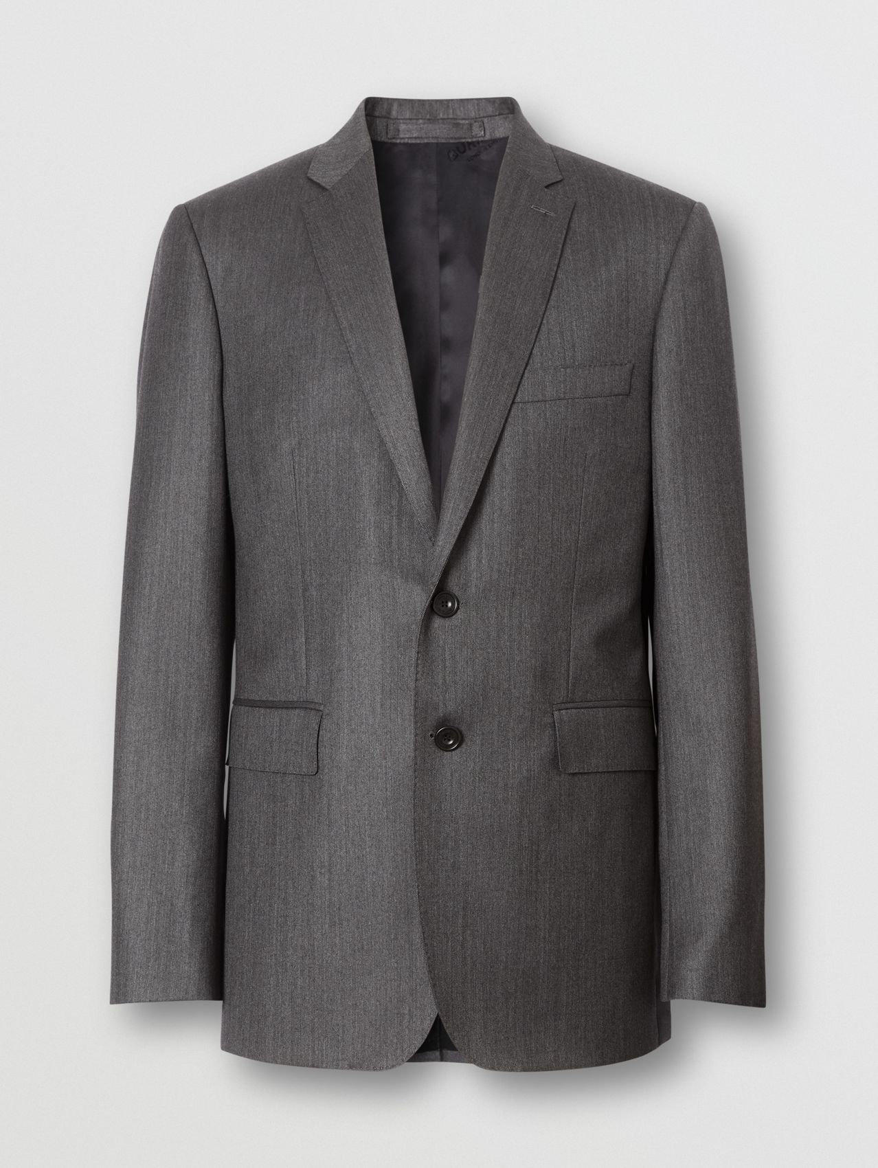 Slim Fit Herringbone Wool Suit (Mid Grey)
